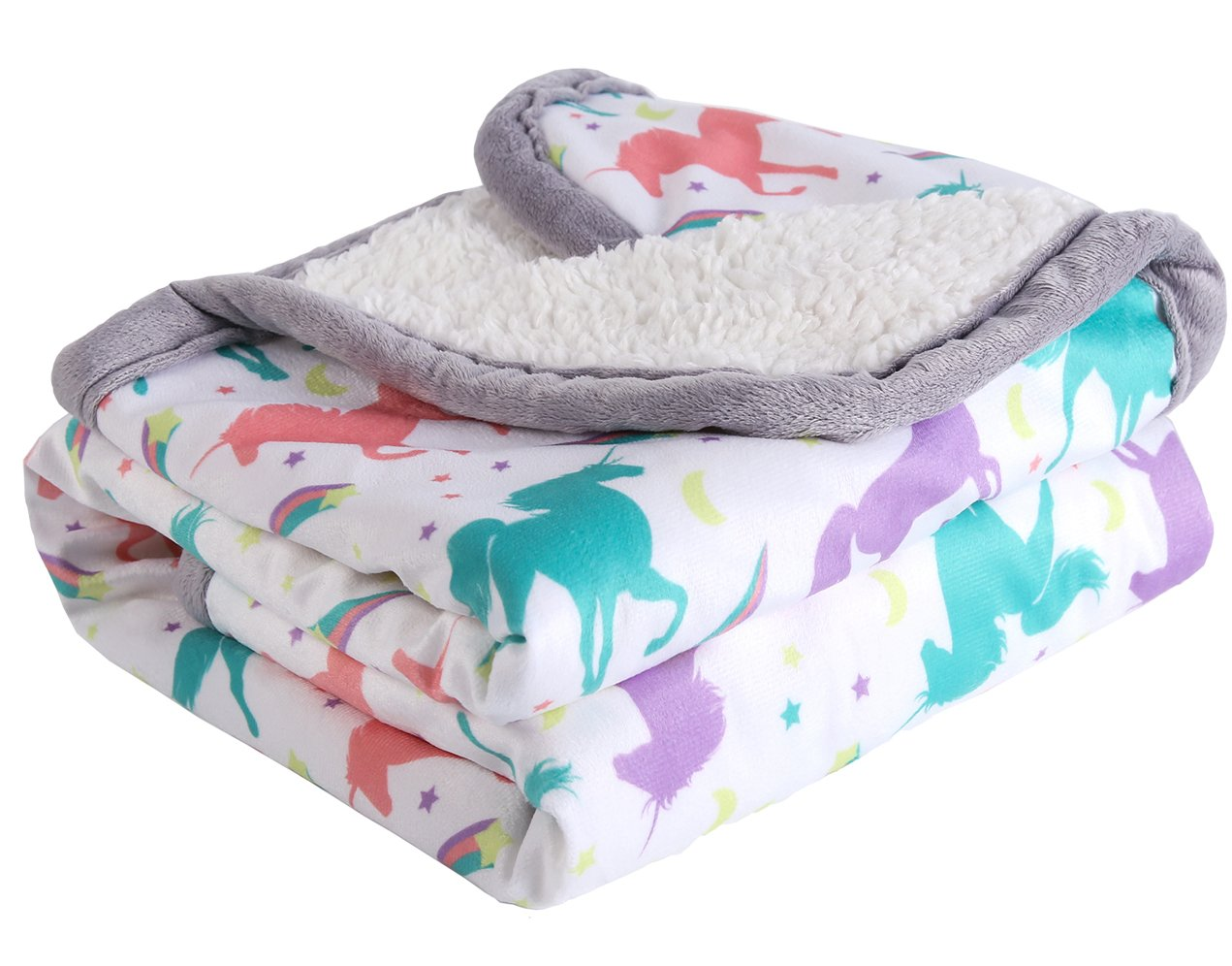 Sunshine Breathable Baby Blanket Print Fleece Best Registry Gift for Newborn Soft- Perfect for Prince and Princess 30'' x 40'' (Unicorn)
