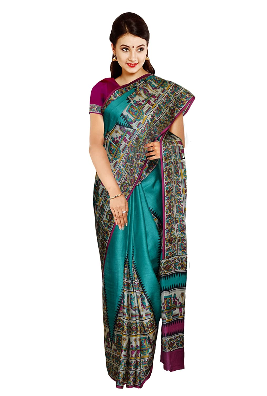 ebba62fe94 Kaushika 100% Pure Tussar Silk Printed Saree KTP006: Amazon.in: Clothing &  Accessories