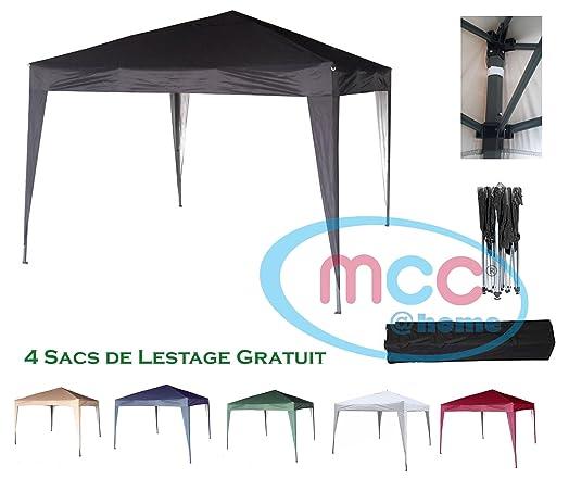 Mcchome 3x3m Black Pop Up Gazebo Waterproof Outdoor Garden Marquee Canopy NS