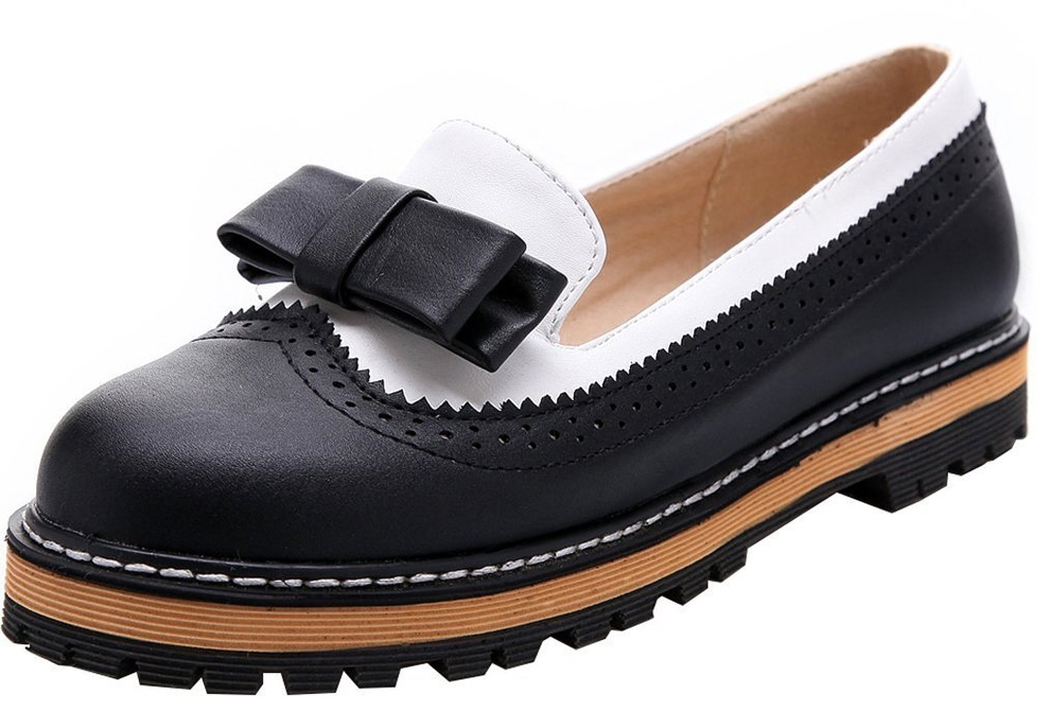 Women's Sweet Cute Leather Round Toe Platform Bow Black Oxfords Shoes 8 B (M) US