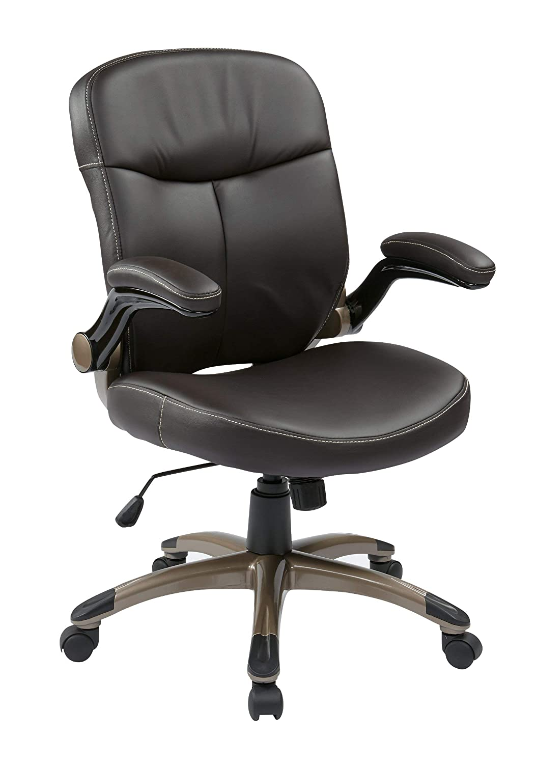 Office Star Mid Back Bonded Leather Executives Chair with Padded Flip Arms and Cocoa Coated Accents, Espresso