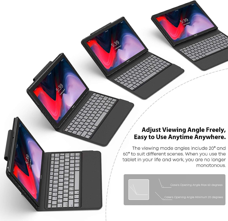 Nero supporto con tastiera wireless Bluetooth per Huawei MediaPad T5 10 10.1 pollici 2018 Tablet INFILAND Custodia per Huawei MediaPad T5 10