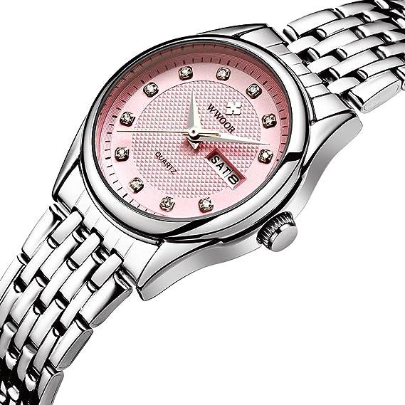 wwoor mujeres relojes marca lujo 5BAR resistente al agua fecha reloj señoras cuarzo reloj de pulsera deportivo wr-8824: WWOOR: Amazon.es: Relojes
