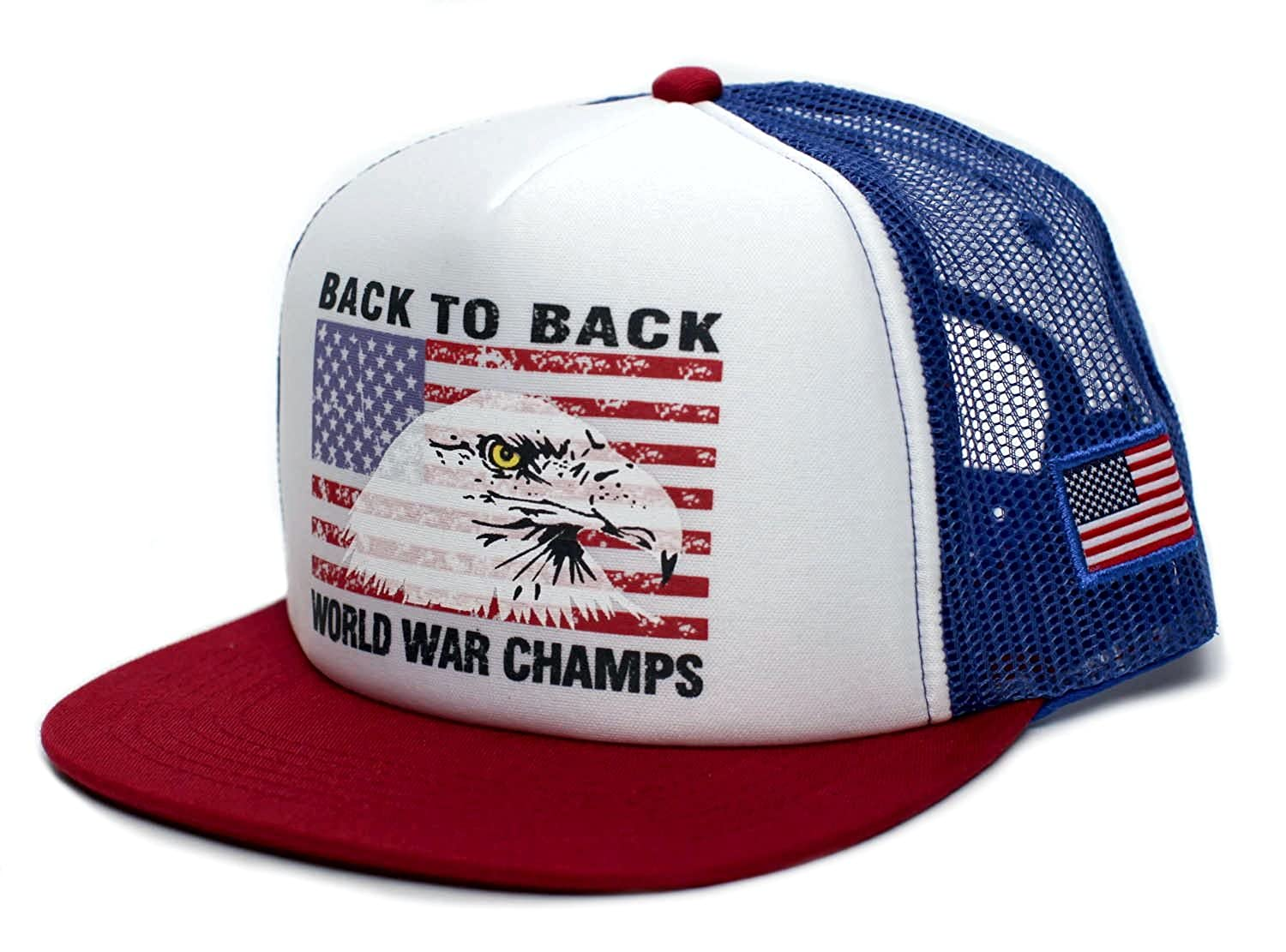 8904233442e Amazon.com  Eagle Back To Back World War Champs Unisex-Adult Cap -One-Size  Royal White Red Flat  Clothing