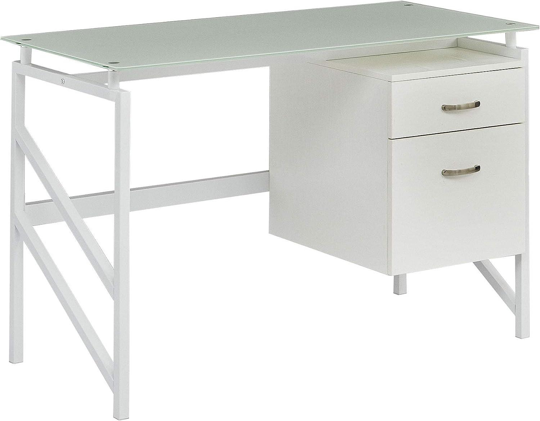 Amazon.com: Mayline SOHO Glass Top Desk with 49 Drawer File