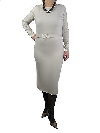 sale retailer 95755 36b9f Langes Strickkleid Kleid Tunika Gürtel Strass schlicht ...