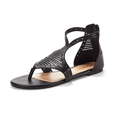 a214bb48c83a DREAM PAIRS Women s Maxi 03 Black PU Open Toe Gladiator Ankle Strap Fashion  Flat Sandals Size