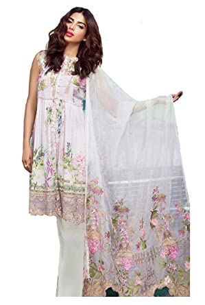91e9b21a5d Madeesh Pakistani Suit for Women, Printed Pure Cotton Top, Heavy Embroidery  Patch Works, Semi Lawn Bottom, ...