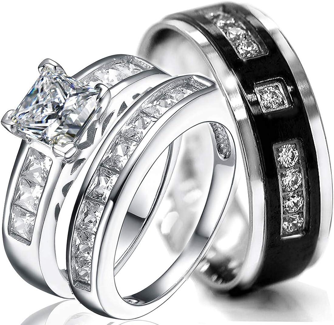 8mm Wedding Ring Set /& Engagement Men Women CZ Black IP Steel Correction Sz 5-13