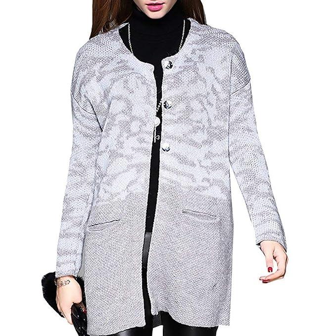 HaiDean Mujer Sweater Pullover Punto Otoño Invierno Manga Larga Bolsillos Delanteros Un Solo Pecho Modernas Casual Cuello Redondo Abrigos Outerwear Hipster ...