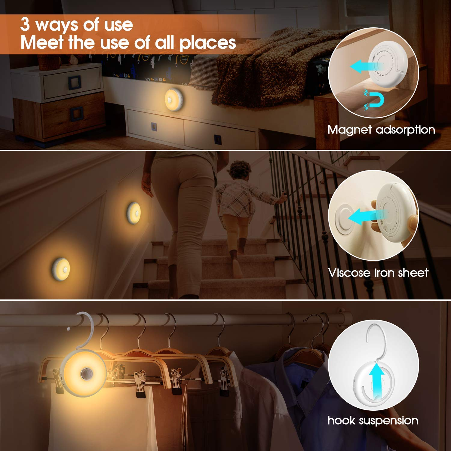FXQ Motion Sensor LED Night Light, USB Rechargeable Portable Closet Light, Dimmable Cordless Wall Light, Magnetic Stick Hanging, for Under Cabinet, Stairs, Hallway, Kids Room, Bedroom (2 Pack)