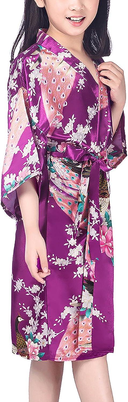 Dolamen Kinder M/ädchen Morgenmantel Kimono Satin Nachtw/äsche Bademantel Robe Peacock Blume Negligee Schlafanzug Schwimmen Hochzeit Geburtstag