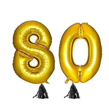 TOYMYTOY 40 Pulgadas Número de Oro 80.º Fiesta del Globo ...