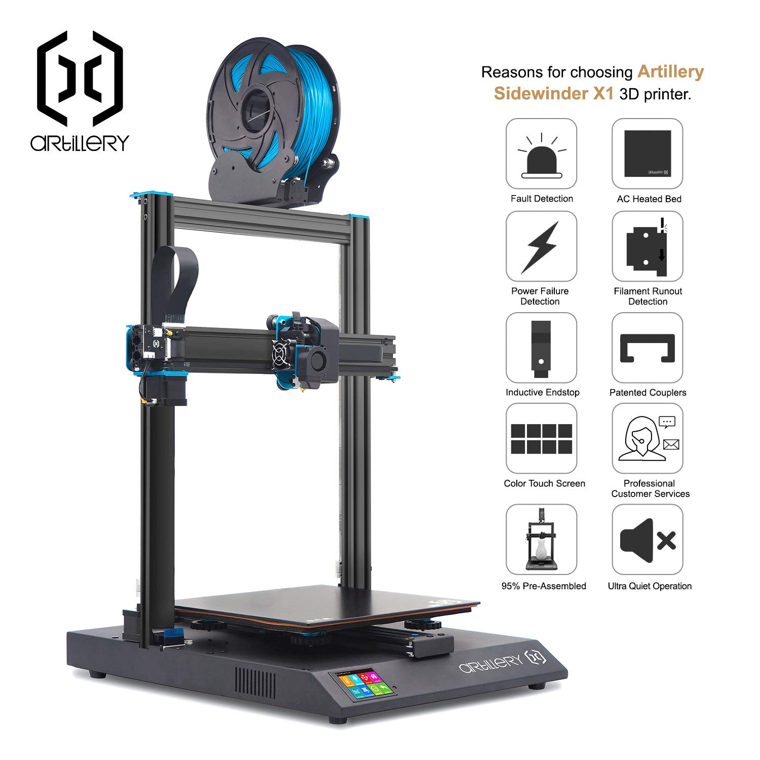Reset Button Dual Z Axis Ultra-Quiet Printing 0.6mm Direct Drive Extruder Filament Runout Detection /& Recovery Artillery Sidewinder X1 3D Printer V4 Newest Model 95/% Pre-Assembled 300x300x400mm