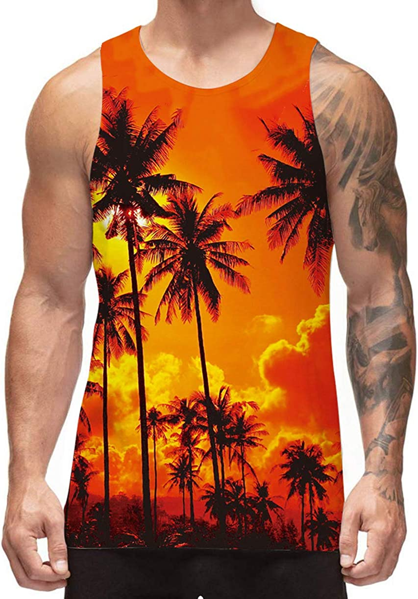 Freshhoodies Men's All Over Print Funny Tank Tops Breathable Summer Casual Sleeveless Beach Graphic Tee/Swimming Trunks