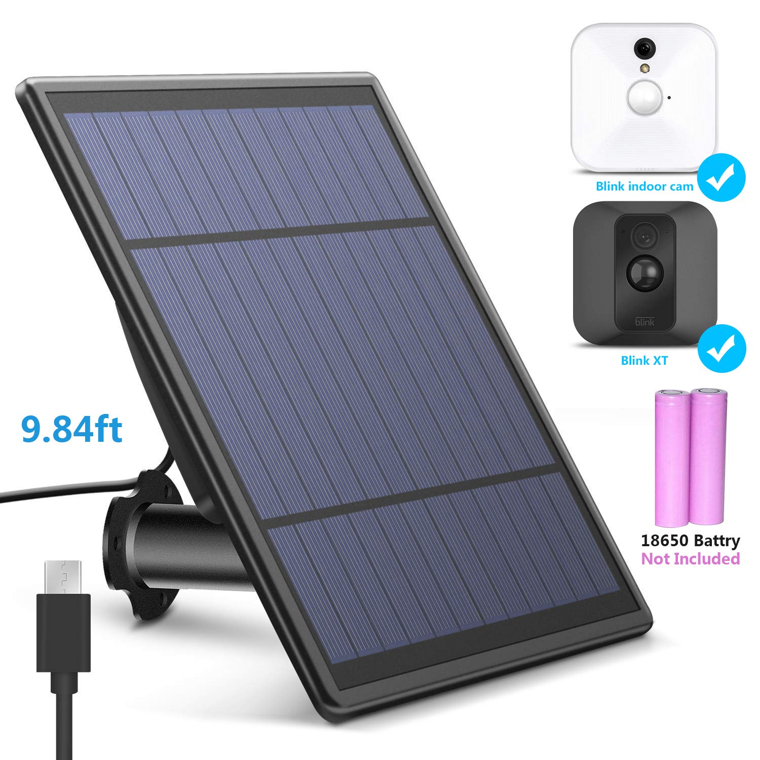 Solar Panel for Blink and Blink XT XT2 Home Security Camera (Camera not Included), 3 m/ 10 ft Power Cable, Battery and Solar Charger