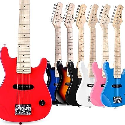winzz Mini guitarra eléctrica para niños (con funda, cable, correa ...