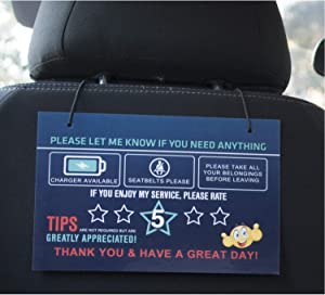 LOTUS-A Rating Tips Accessories Rideshare Driver Signs – Large 9x6 Inch Premium Thick Laminate 20 Mil Durable Backseat Headrest Display Card (Pack of 2) – All You Need for Your Business