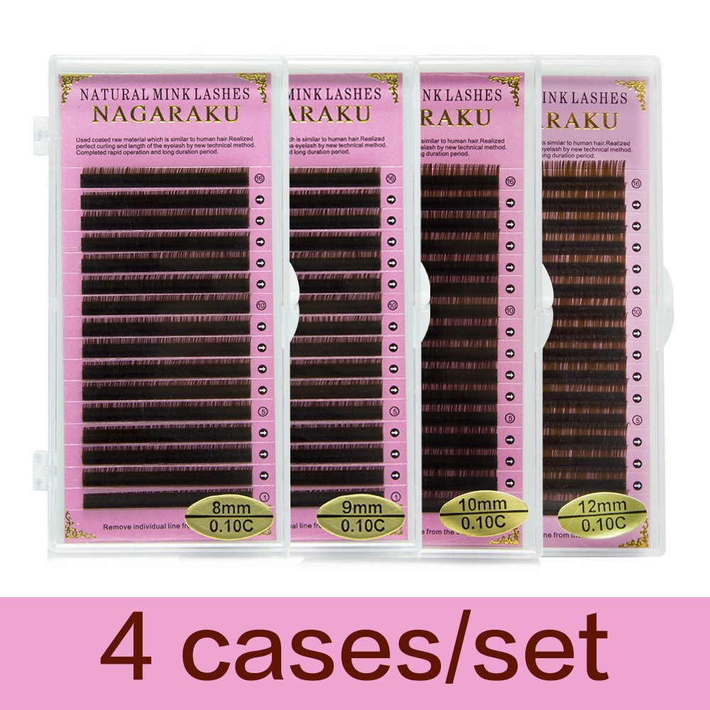 NAGARAKU C 0.10 mm Faux mink Brown Color Eyelash Extensions 8mm, 9mm, 10mm, 12mm 4 Trays Single Length in one Tray Brown Lashes ( 4 cases / set)