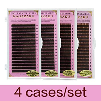 bc9bd543147 NAGARAKU C 0.10 mm Faux mink Brown Color Eyelash Extensions 8mm, 9mm, 10mm,