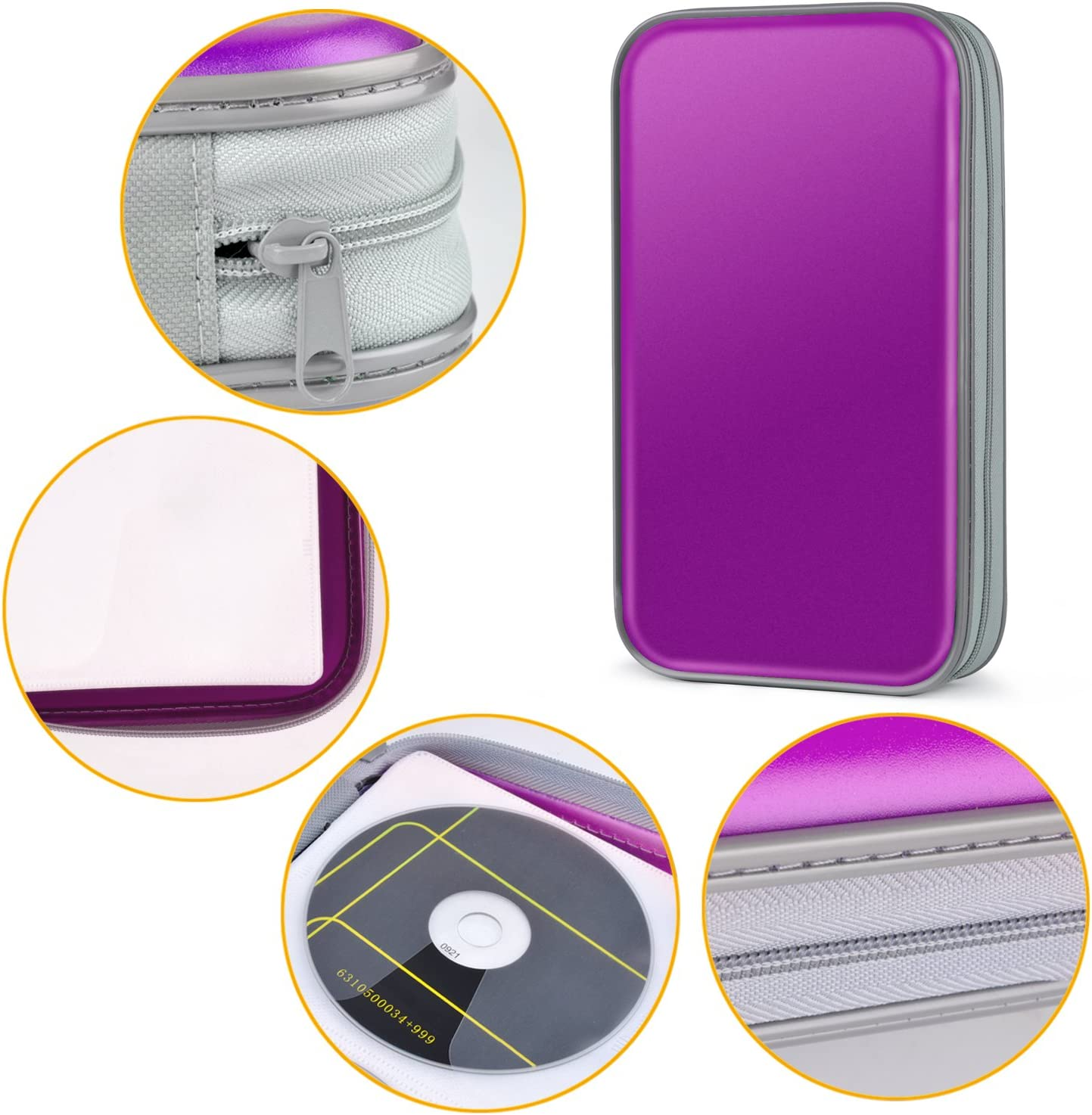 Tinksky Porta CD para 80 CDs//DVDs Almacenamiento de CD para CD//DVD Protectora CD Estuche