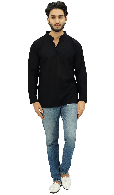 Atasi Mens Band Collar Short Kurta Cotton Casual Shirt