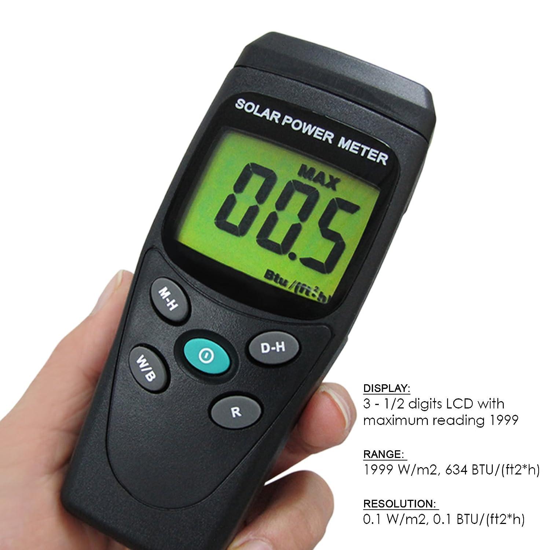 Office Industrial Digital Solar Power Meter Tester BTU W//M2 Handheld Portable for Home