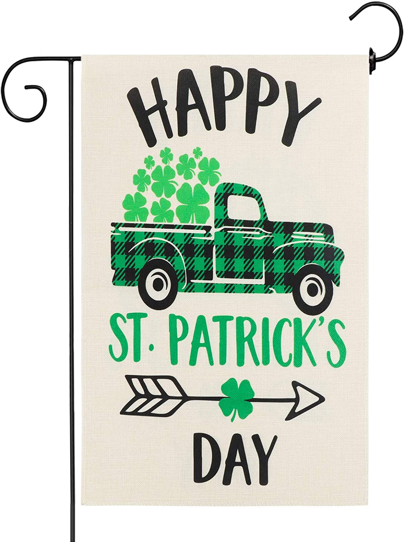 AKEROCK St Patricks Day Garden Flag, 12.5x18 Inch Double Sided Garden Decor, St Patricks Day Decorations for The Home, Shamrock Decorations