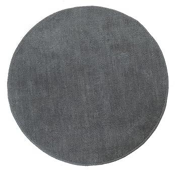 Teppich hellgrau rund  Homescapes Dekorativer Kurzflor Teppich rund grau - 70 cm: Amazon ...