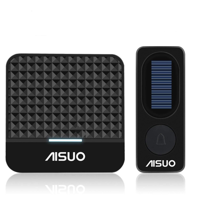 Aisuo Doorbell Kit - Solar Wireless Doorbell, LED Indicator & Flashing Alert Light, 1000-feet Signal Range, 4 Adjustable Volumes and 52 Chimes, No Batteries Required, Outdoor/Indoor (Black).
