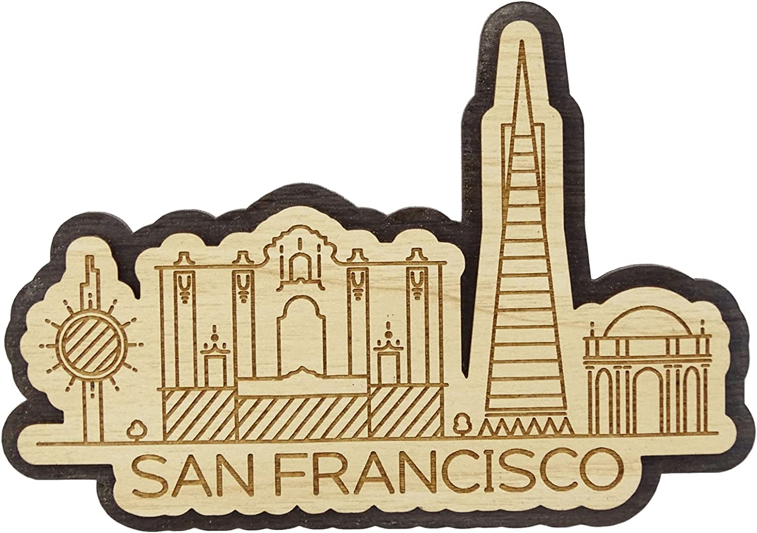 Printtoo Engraved Wooden California San Francisco City Souvenir Custom Fridge Magnet