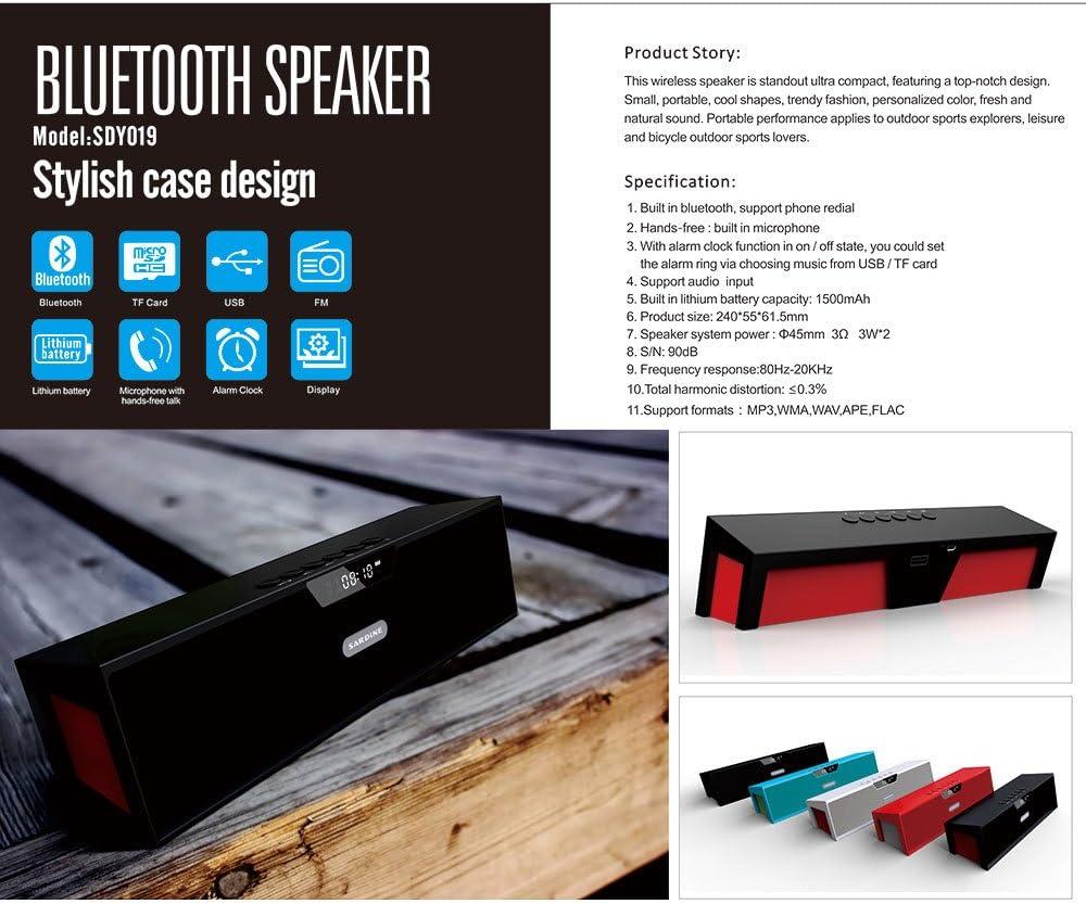 Festnight Sardine SDY-019 Portable Outdoor//Household Wireless BT Stereo Speaker Supports FM Radio USB TF//MicroSD USB