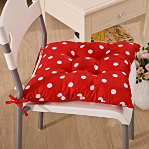 ROBERTS Soft Home Office Square Cotton Polka Dot Stuffed Chair Pad Soft Seat Buttocks Chair Cushion Pad with Strap for Home/Office Kitchen(Red)