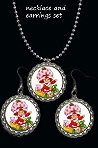 Strawberry Shortcake 1 necklace and earrings set 24inch ball chain necklace fish hook earrings silver plated