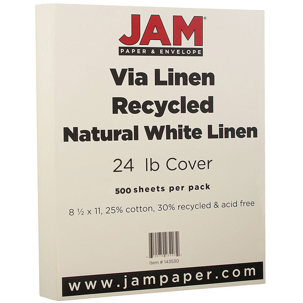 JAM PAPER Strathmore 24lb Paper - 8.5 x 11 - Natural White Linen - 500 Sheets/Ream by JAM Paper