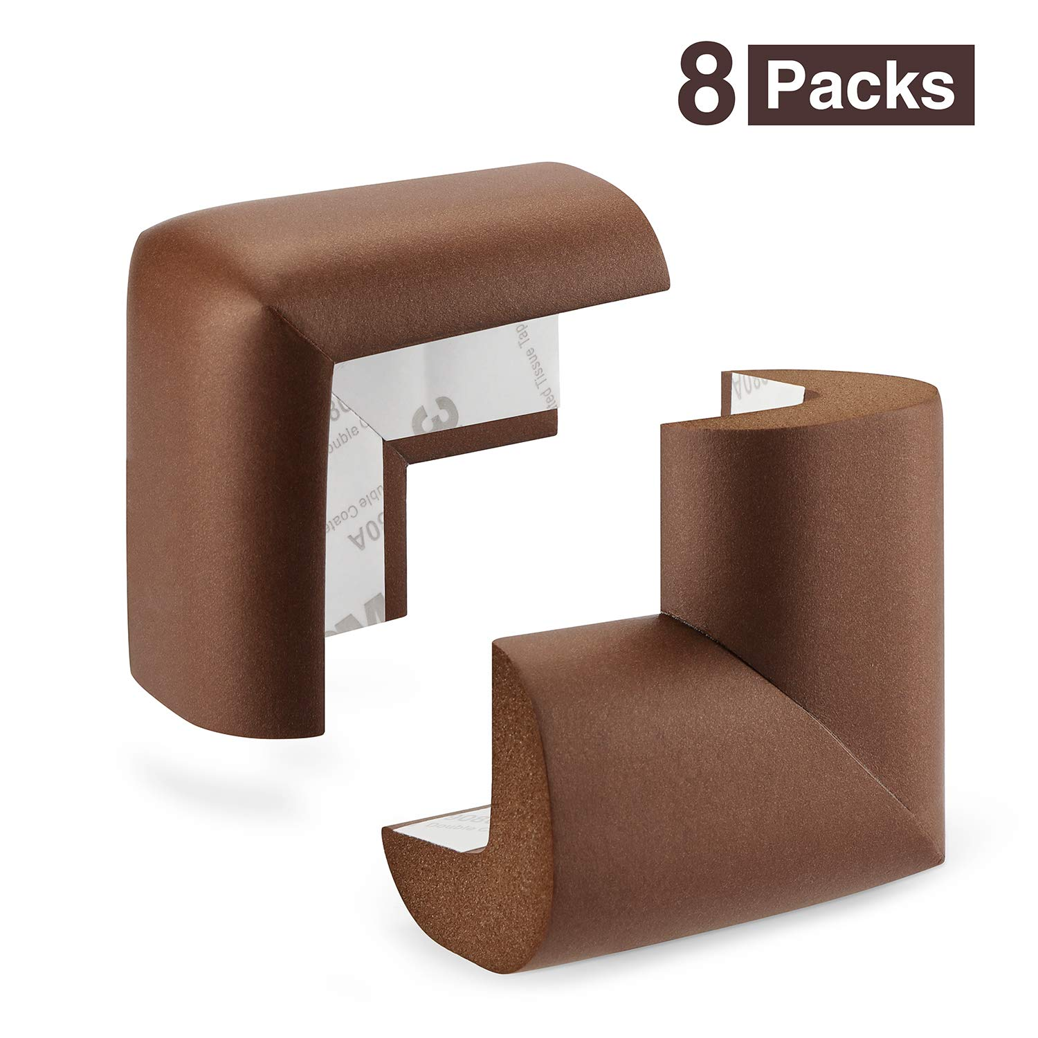 Table Corner Protectors for Baby Safety | Baby Proofing Corner Guards for Furniture | Rubber Corner Bumpers 3M Pre-Taped (8 Packs) ZhenHao Z-BCP001-BROWN
