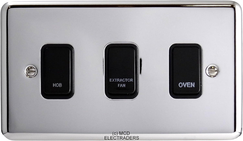 BG Polished Chrome Custom Grid Switch Panel Labelled Kitchen Appliance 8 Gang
