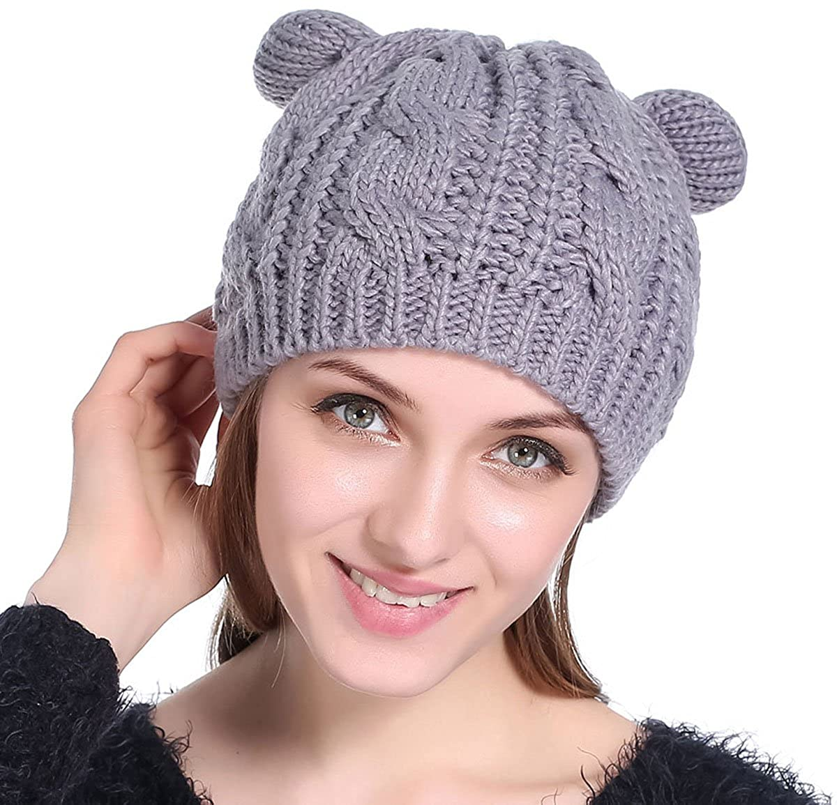 Womens Winter Thick Cable Knit Beanie Hat Cat Ear Crochet Braided Knit Caps e2289cda9db