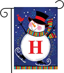 "Briarwood Lane Winter Snowman Monogram Letter H Garden Flag 12.5"" x 18"""