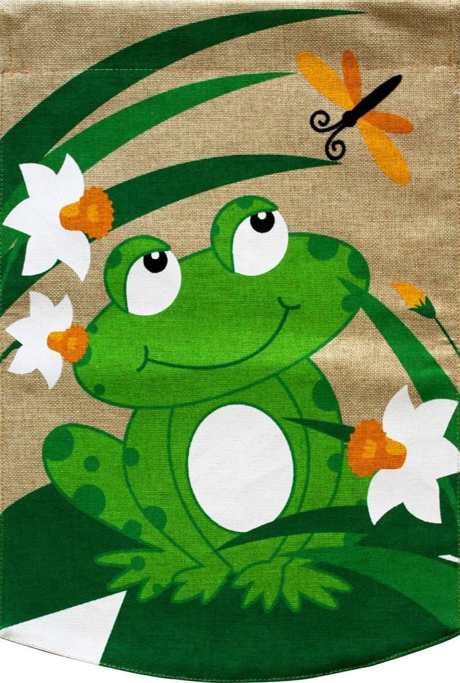 "Briarwood Lane Happy Frog Burlap Summer Garden Flag 12.5"" x 18"""