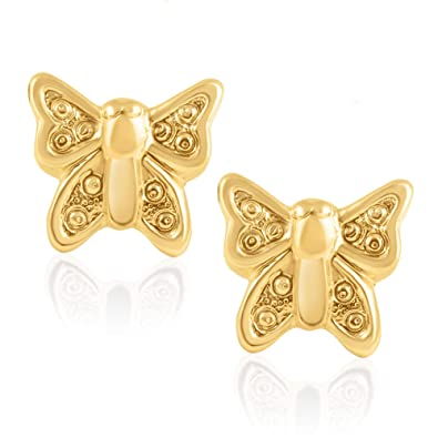4ba487f93 Image Unavailable. Image not available for. Color: 14K Yellow Gold  Butterfly Children Screwback Baby Girl Stud Earrings