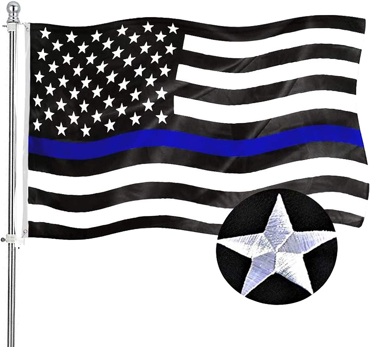 Embroidered Blue Line American Police Flag 3x5 Outdoor- Support Police Flag Blue Line- Blue Lives Law Enforcement Heavy Duty 210D Nylon with Embroidered Stars 4 Stitches Hem