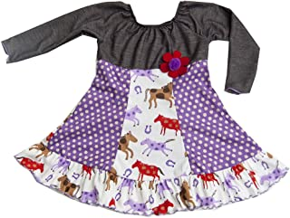 product image for Cheeky Banana Baby/Toddler Girls Denim Knit Horses Peasant Dress Purple