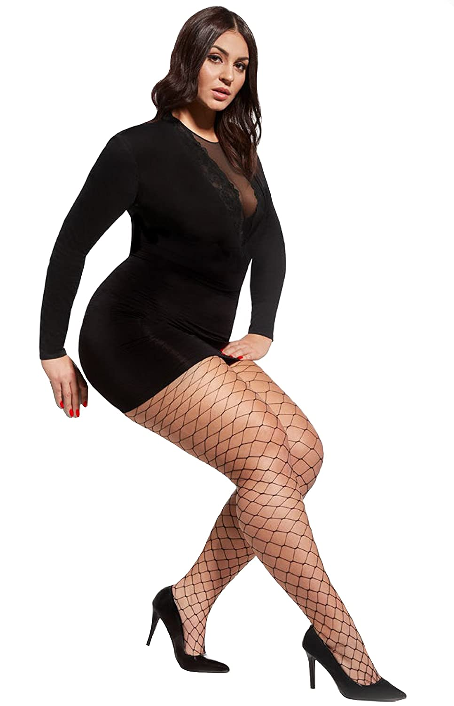 96892996429 Excellent women plus size fishnet tights Octagon large scale by Aurellie   Amazon.co.uk  Clothing
