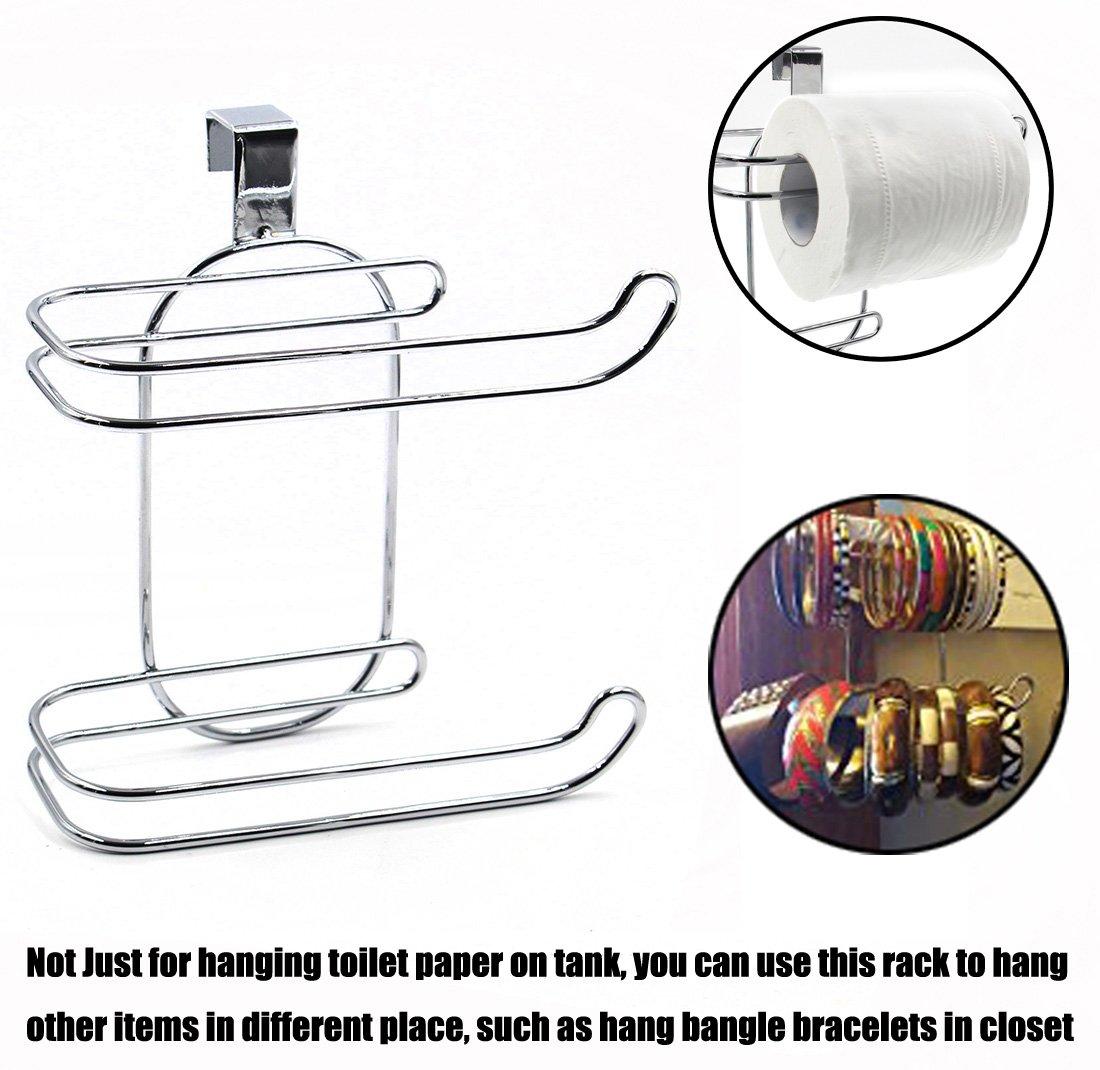 ESYLIFE Over The Tank 2 Roll Toilet Bath Tissue HolderChrome Finish