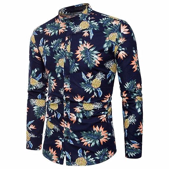 6ab061796 Camisas Hawaianas Hombre, Camisa de los Hombres Impreso Slim Fit ...