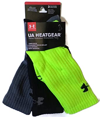 Under Armour HeatGear Crew Socks 3-Pair Boys Youth Medium 4Y-8Y New