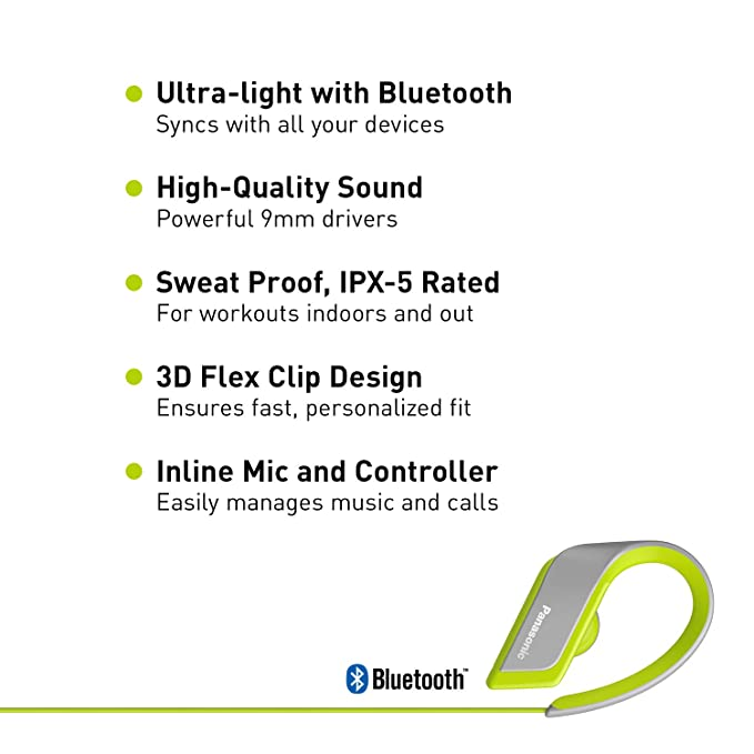 Amazon.com: PANASONIC Wings Sport Headphones are Ultra-Light Wireless Bluetooth Sport Earbud 3D Flex Sport Clips with Microphone and Call/Volume Controller, ...