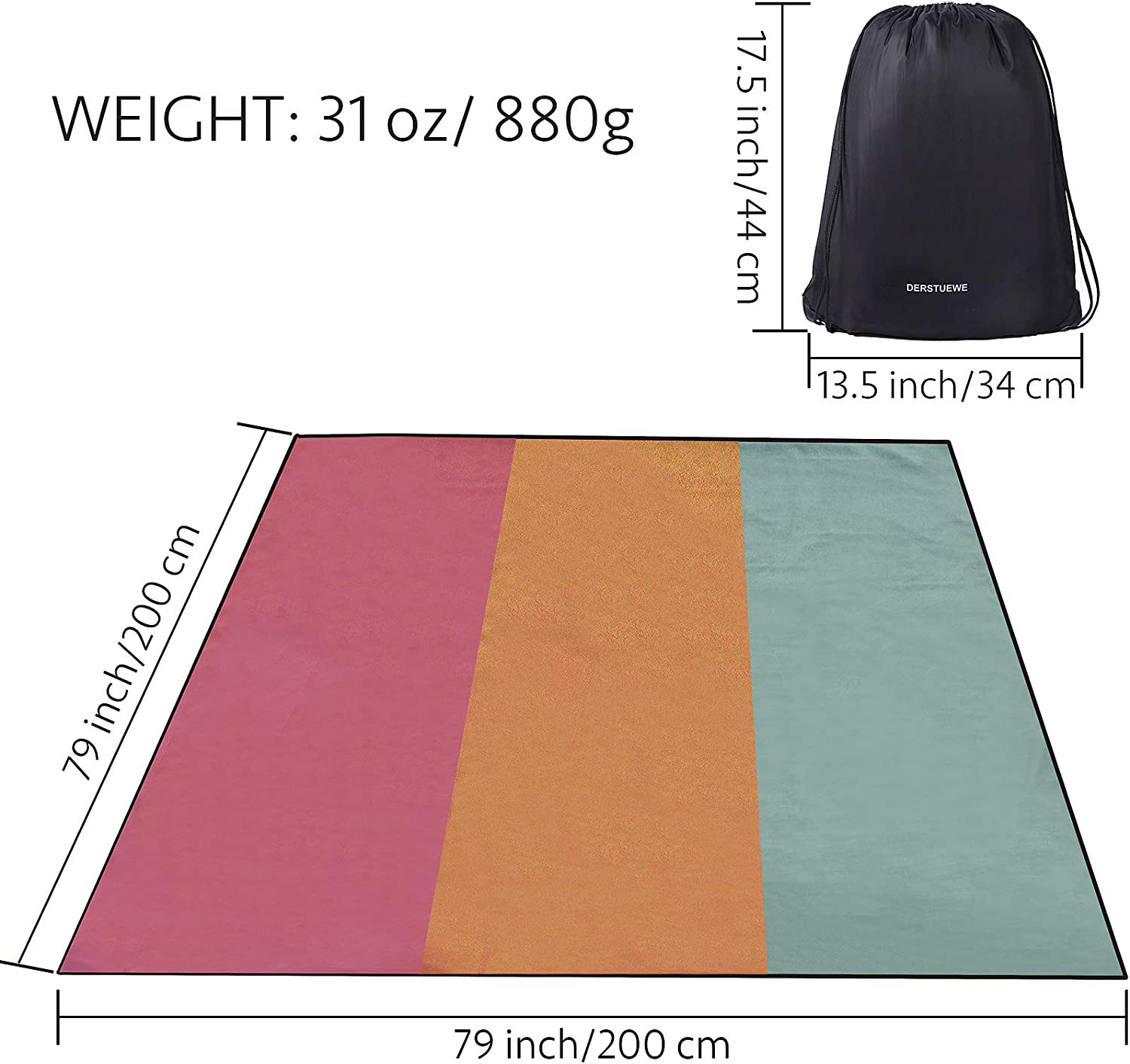 Picnic Camping JUNSTAR Oversize Outdoor Picnic Blankets Waterproof Foldable Fleece Blanket Suitable for Family Outdoor Stadium Beach All-Weather Camping Blanket