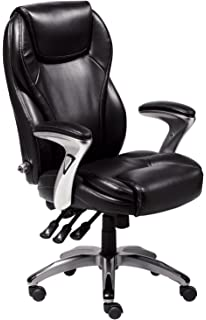 Serta Bonded Leather Executive Chair, Multi Paddle, Black